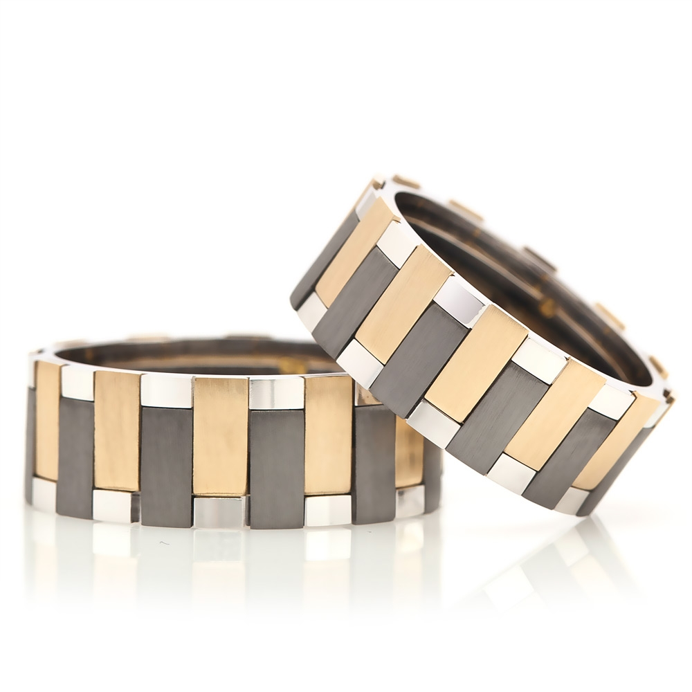 Striped Design Yellow and Black Silver Wedding Band Pair-OTTASILVER