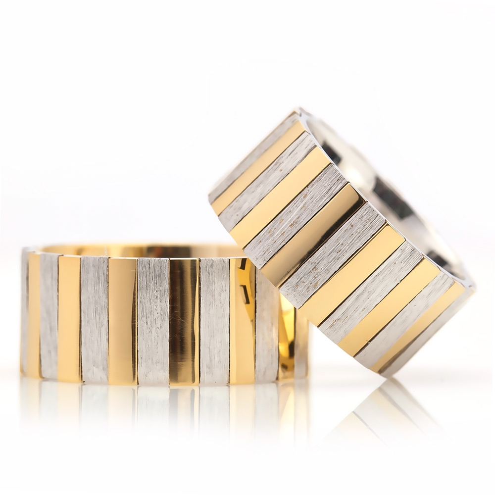 Silver Wediing Ring Couple with Yellow and Grey Line Design-OTTASILVER