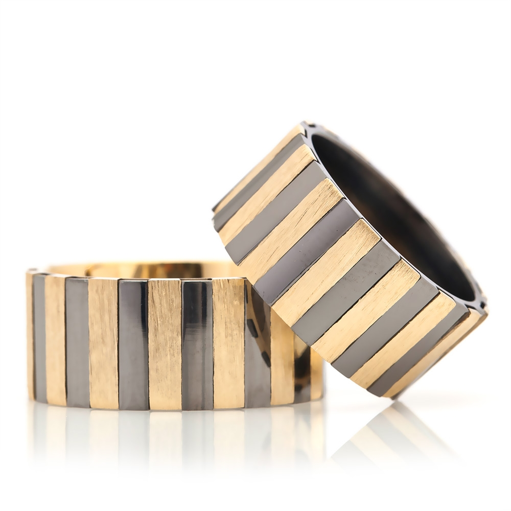 Yellow and Black Line Design Silver Wedding Band Pair-OTTASILVER