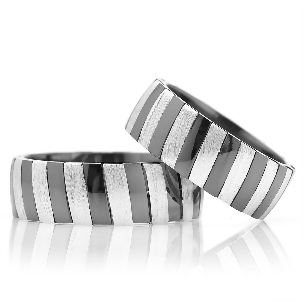 Silver Wedding Band Pair with Two Color Striped Design-OTTASILVER
