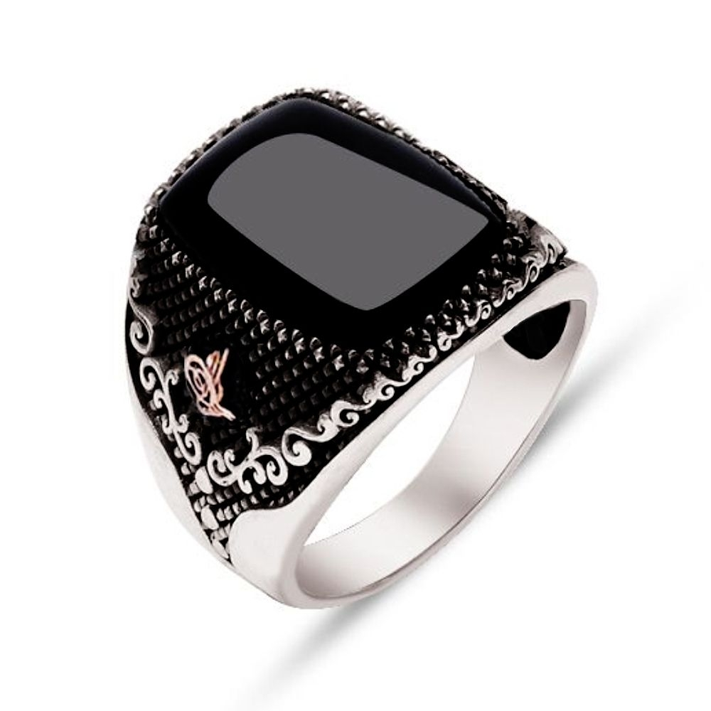 Black Onyx Stone Sterling Silver Men Ring-OTTASILVER