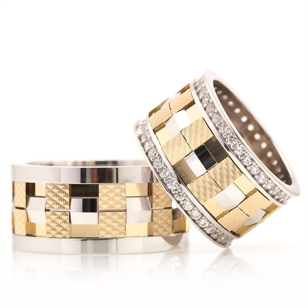 Rodium And Gold Plated Silver Wedding Band-OTTASILVER