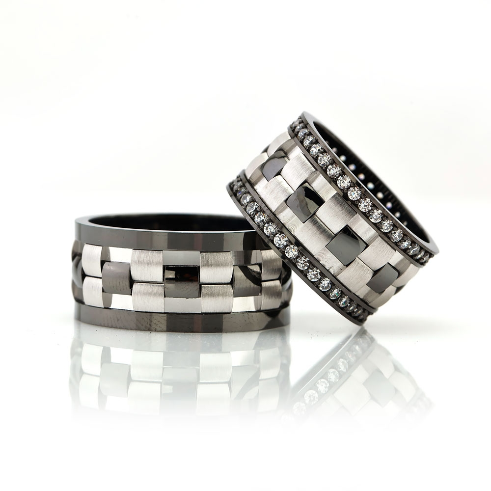 Black And White Elegant Adaptive Wedding Band Pair-OTTASILVER