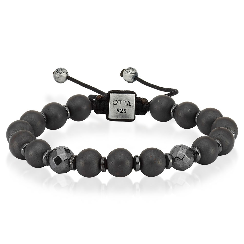 Hematite Stone Macrame Bracelet Mens-OTTASILVER