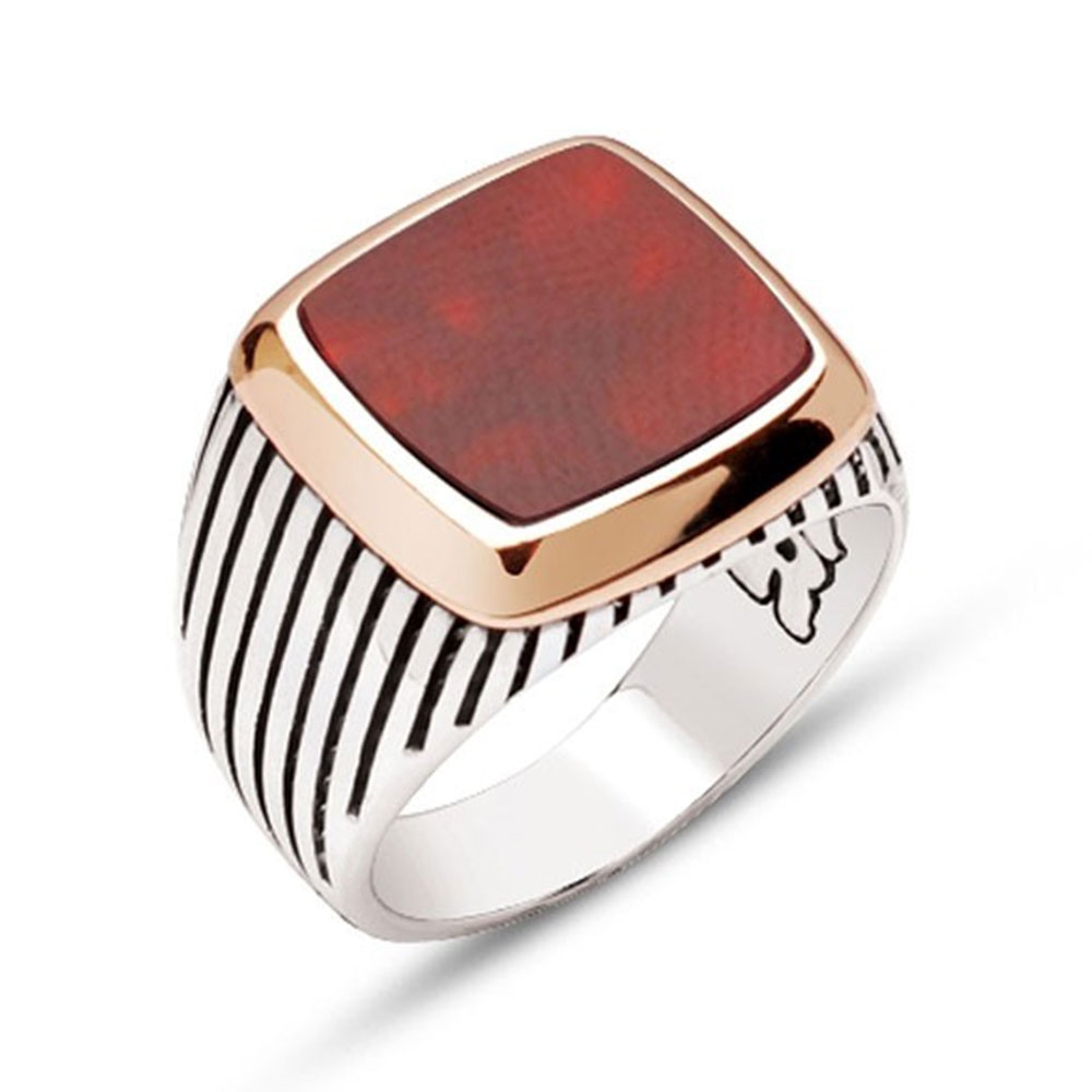Red Agate Stone Sterling Silver Men's Ring-OTTASILVER