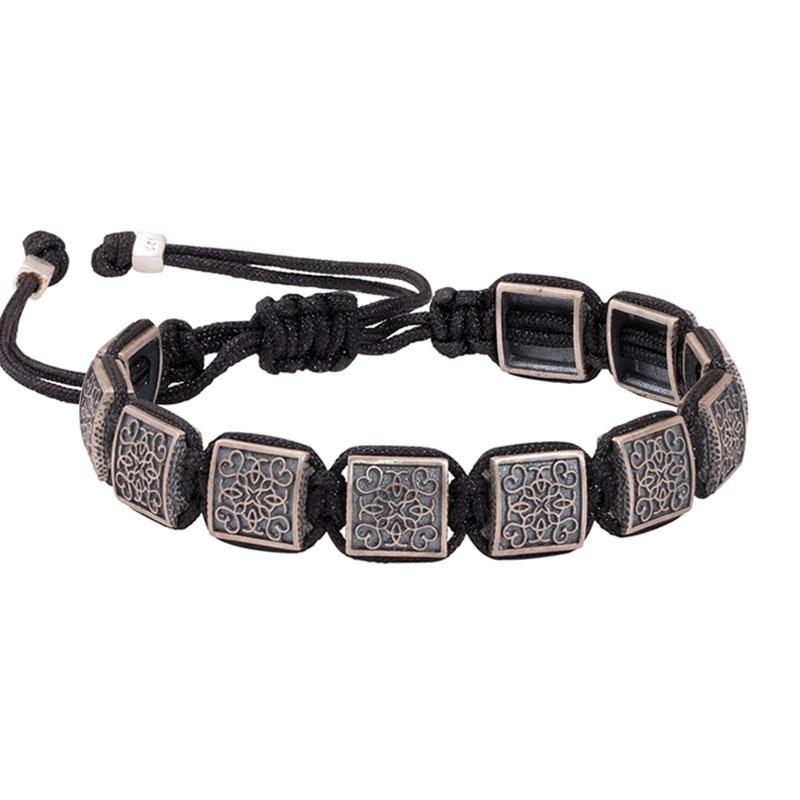 Special Design Mens Silver Macrame Bracelet-OTTASILVER