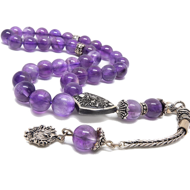 Amethyst Stone Tasbih with 925k Sterling Silver Imame-OTTASILVER