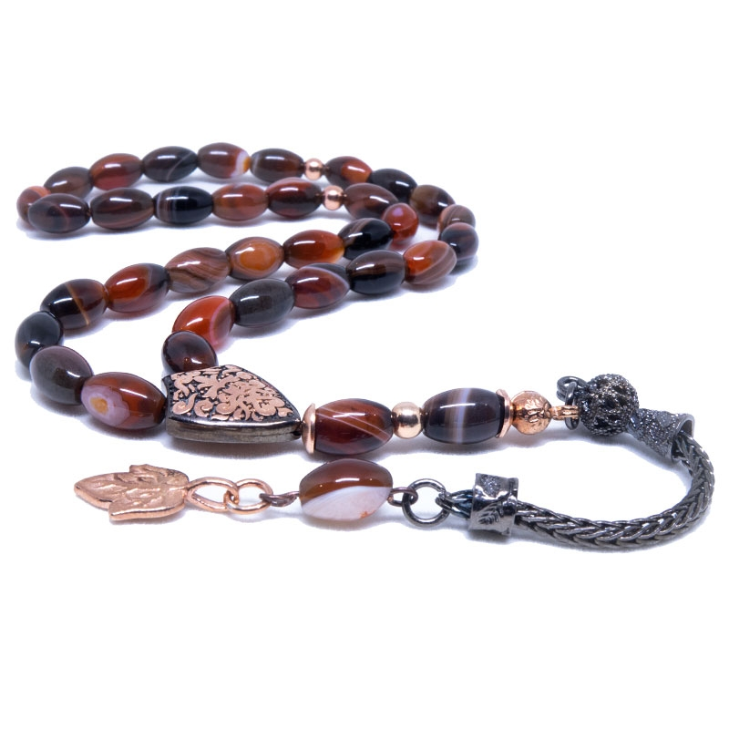 Agate Stone Tasbih with 925k Sterling Silver Imame-OTTASILVER