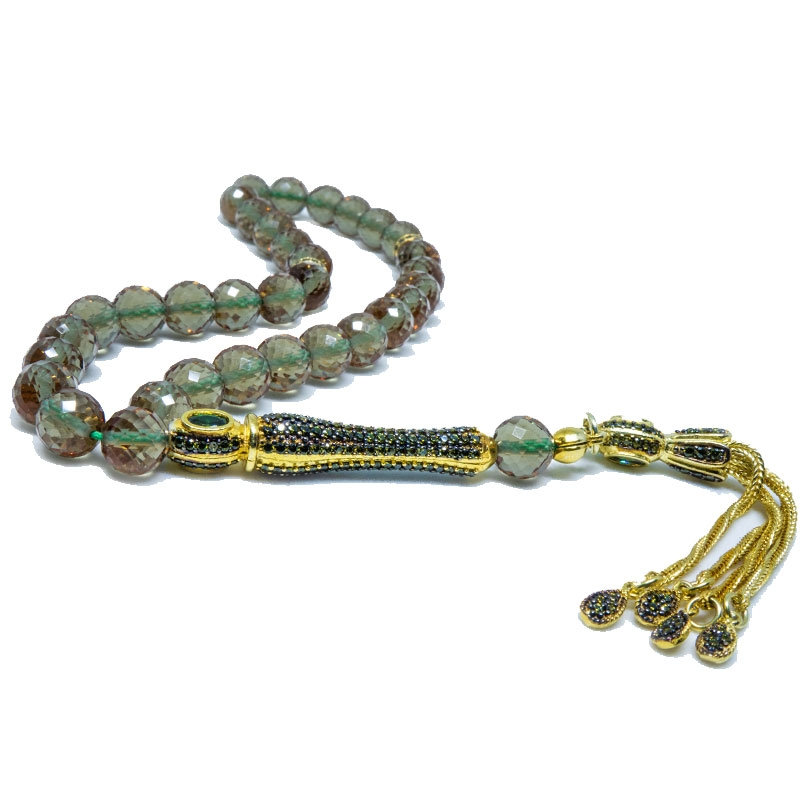 Color Changing Zultanite Stone Tasbih with 925k Sterling Silver Imame-OTTASILVER