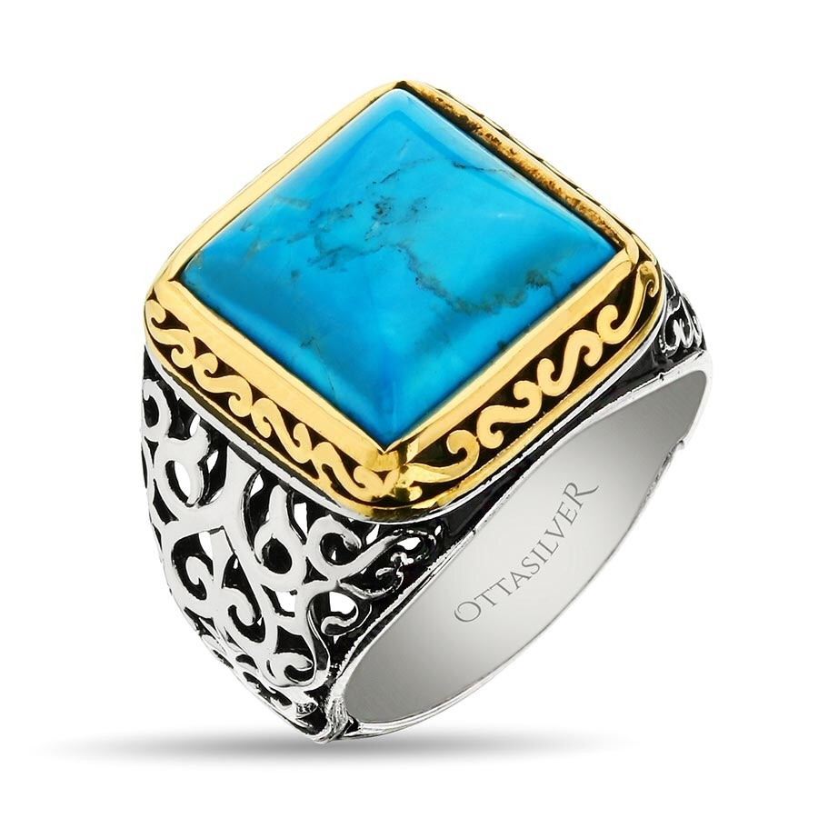 Turquoise Stone Hand Made Silver Ring-OTTASILVER