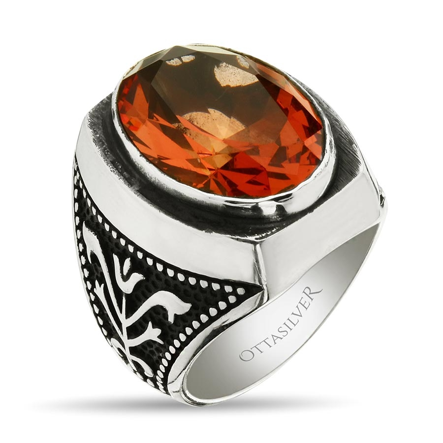 Color Changing Zultanite Stone Sterling Silver Men Ring-OTTASILVER
