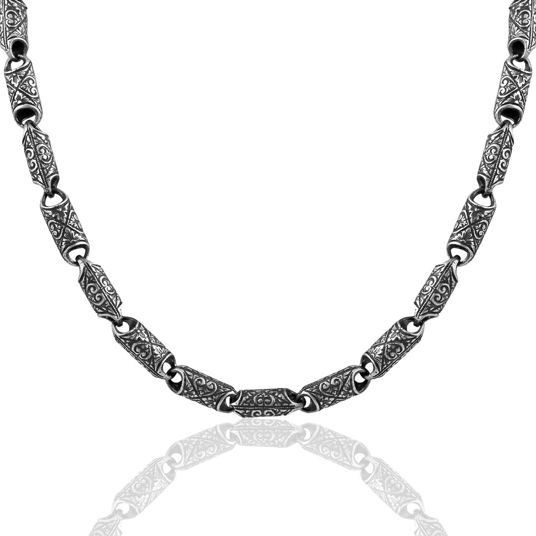 Hand-Engraved Silver Necklace-OTTASILVER