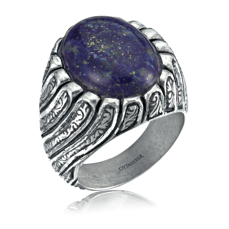 Lapis Lazuli Stone Ring Twisty Design-OTTASILVER