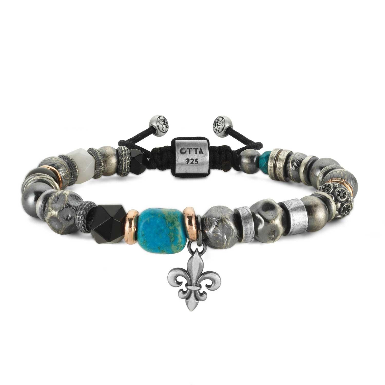 Silver Bead Bracelet with Turquoise Stone-OTTASILVER