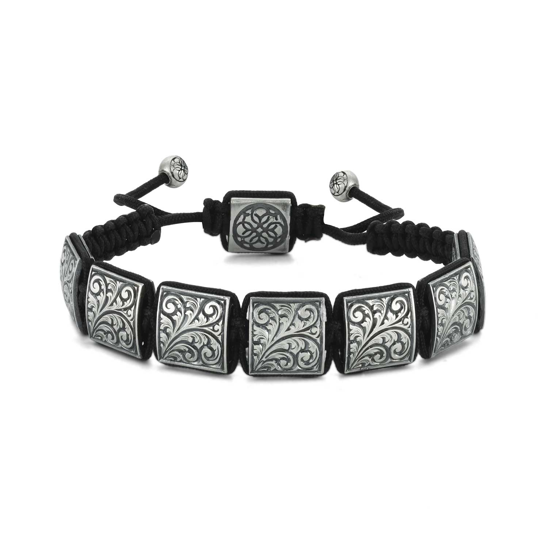 Hand Engraved Macrame Bracelet in Silver-OTTASILVER