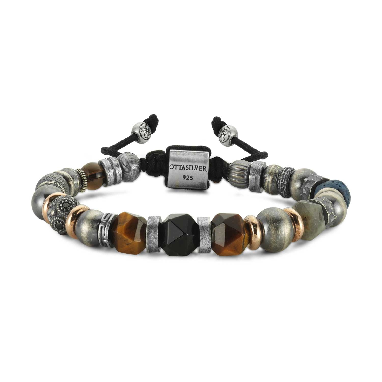 Silver Bracelet with Bead Stone-OTTASILVER