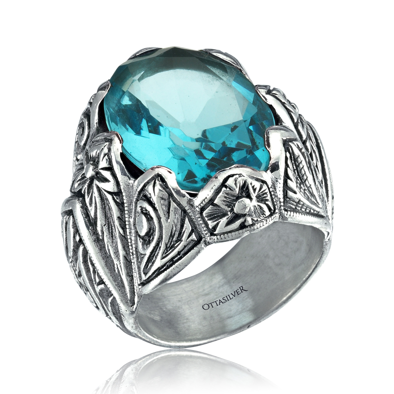 Aquamarine Stone Hand Made Ring-OTTASILVER