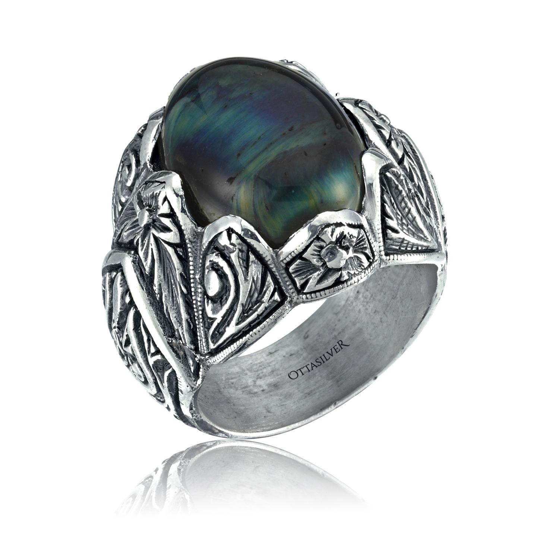 Handmade Blue Tiger Eye Men Ring-OTTASILVER