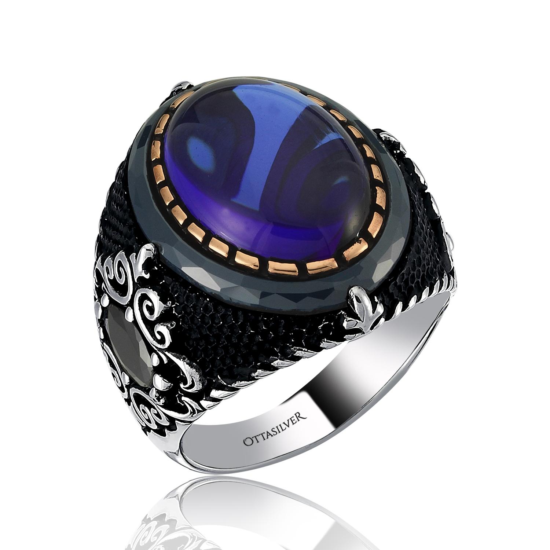 Blue Sapphire Silver Ring-OTTASILVER
