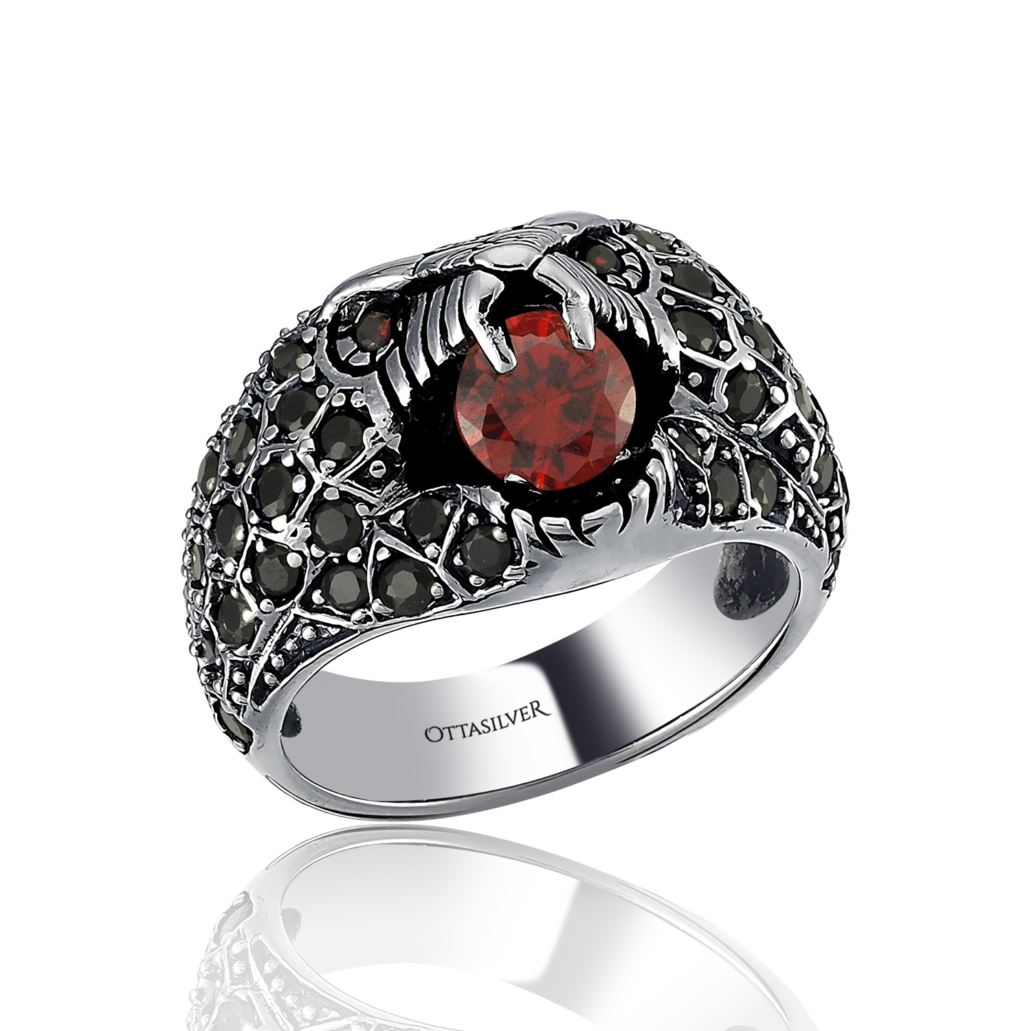 Snake Ring with Red and Black Zircon-OTTASILVER