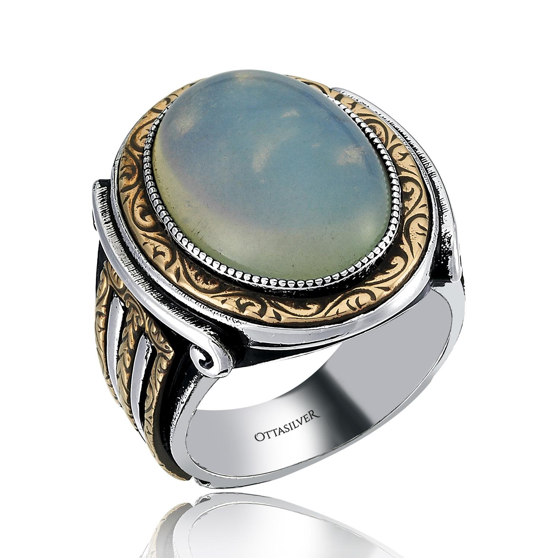 Silver Mens Ring Oval Design-OTTASILVER
