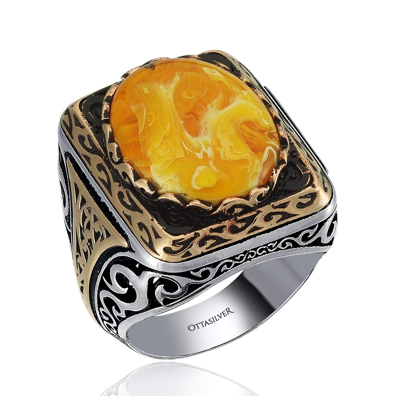 Hand Engraved 925K Silver Ring-OTTASILVER