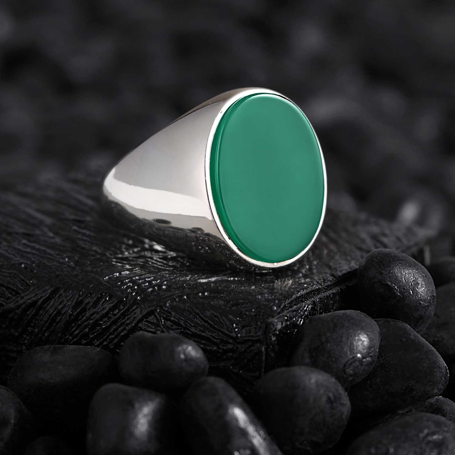 Basic Sterling Silver Ring with Green Agate Stone-OTTASILVER