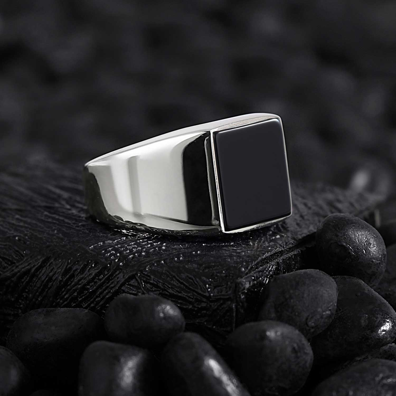 Basic Square Silver Ring with Black Onyx-OTTASILVER