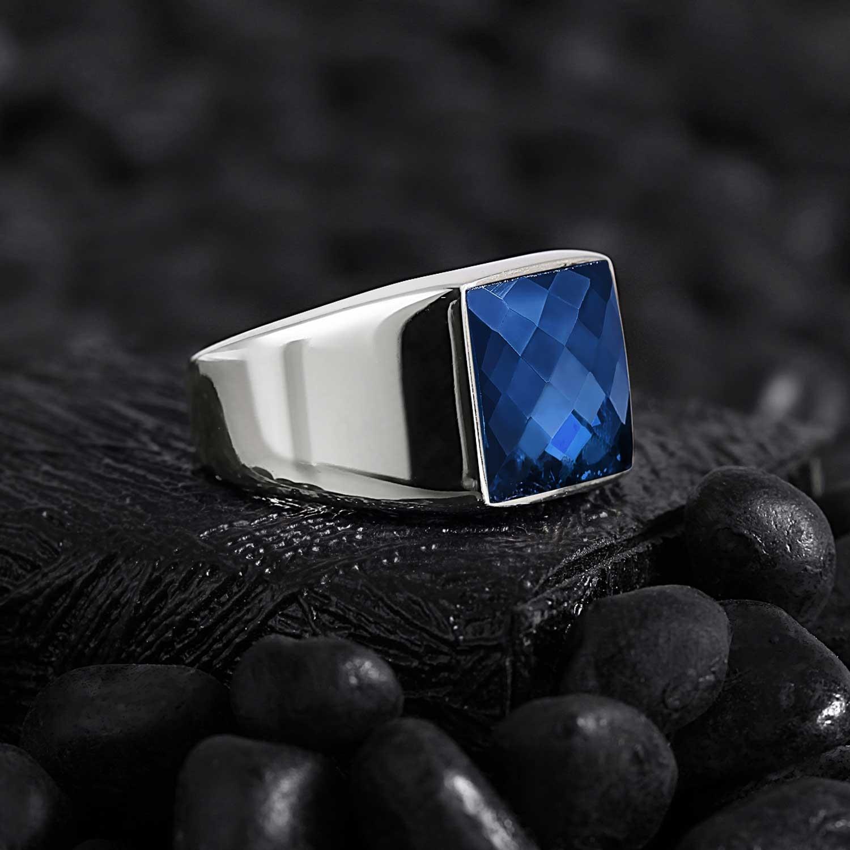 Minimal Square Silver Ring with Zircon Blue-OTTASILVER