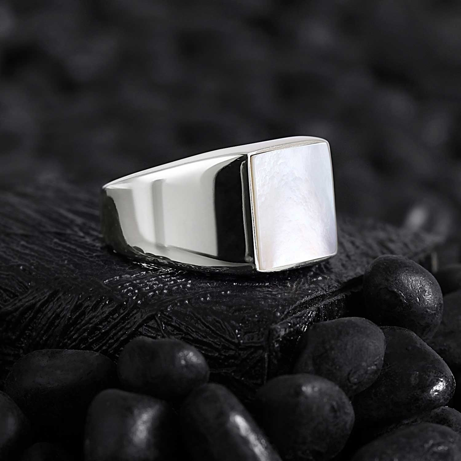 Basic Square Silver Ring with Mother of Pearl-OTTASILVER
