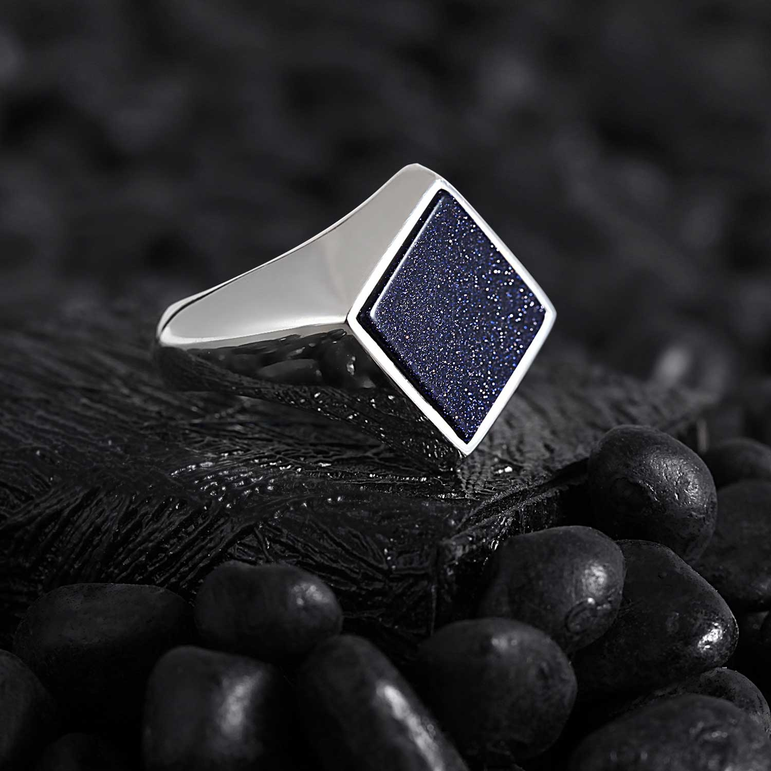 Modern Square Silver Ring with Blue Tiger Eye Star-OTTASILVER