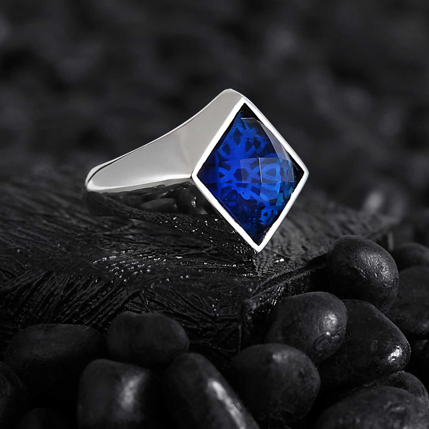 Modern Casual Square Silver Ring with Blue CZ Diamond-OTTASILVER
