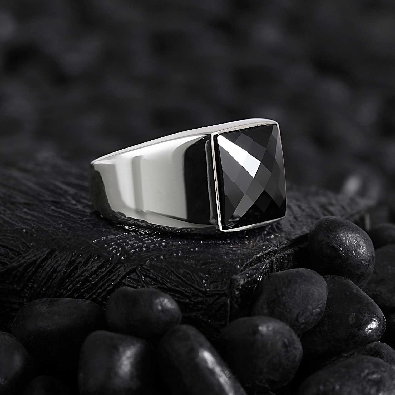 Modern Square Silver Ring with CZ Diamond-OTTASILVER