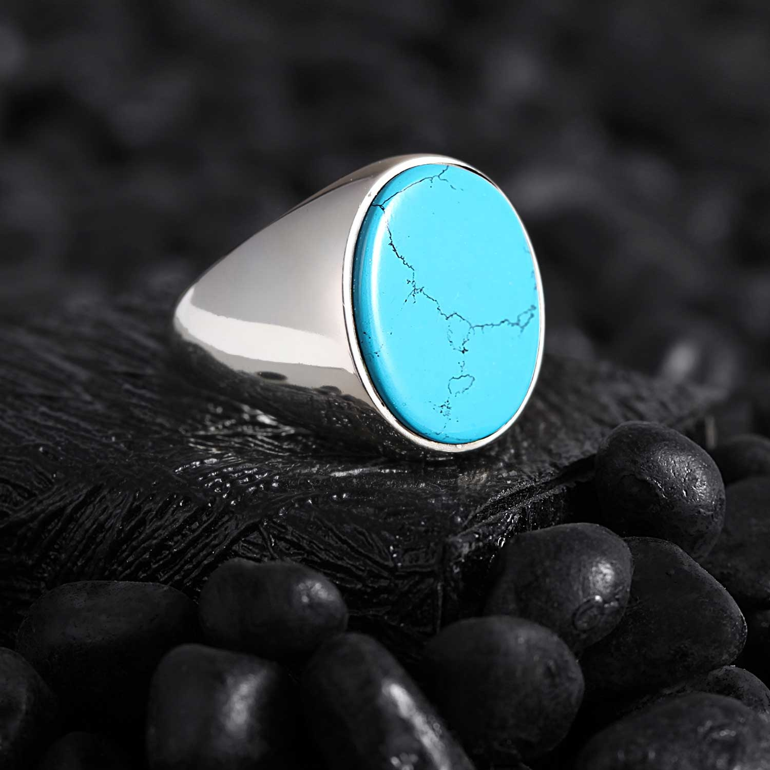 Minimalist Silver Ring with Turquoise Stone-OTTASILVER