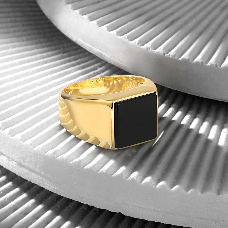 18K Gold Basic Ring with Black Onyx-OTTASILVER