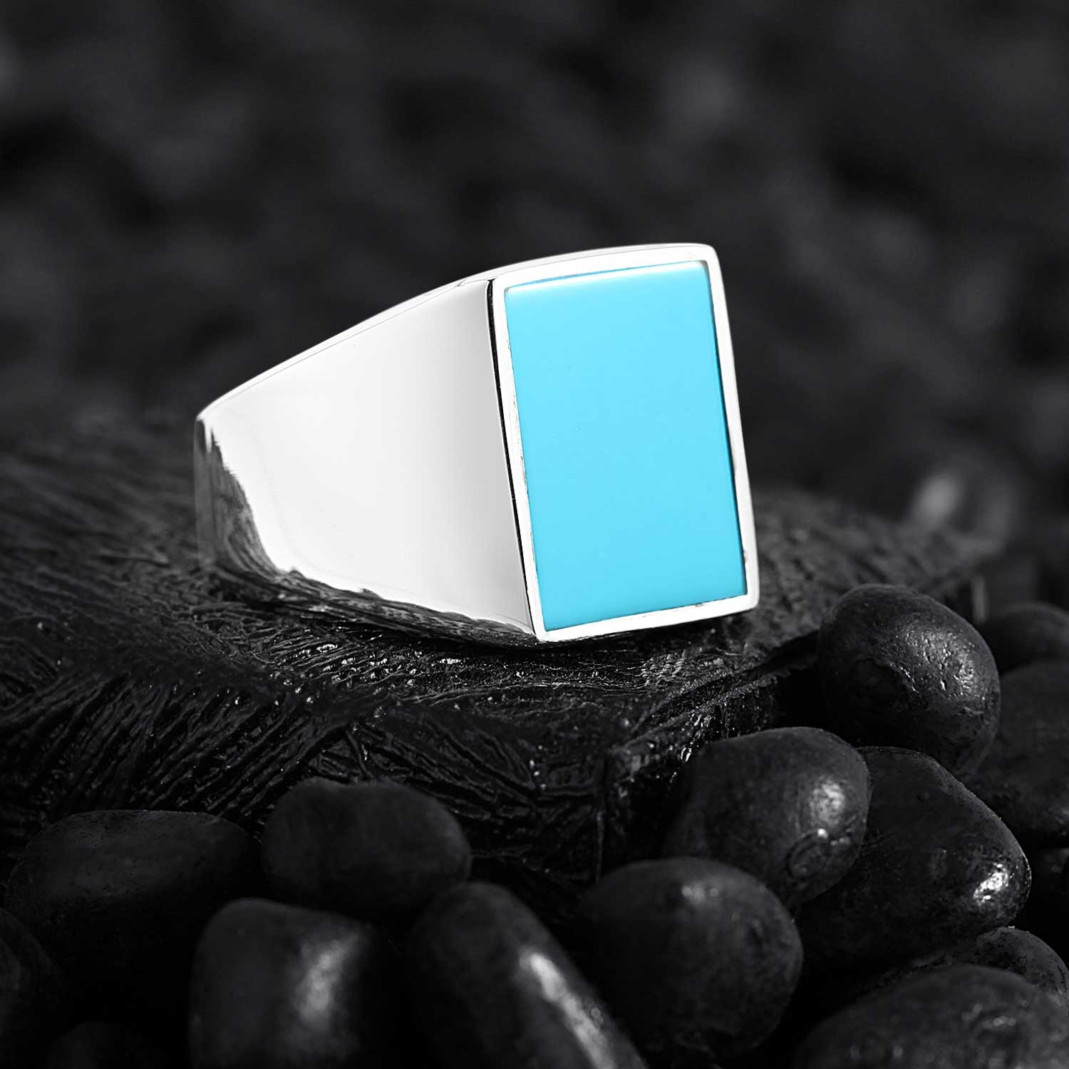 Basic Sterling Silver with Rectangle Turquoise-OTTASILVER