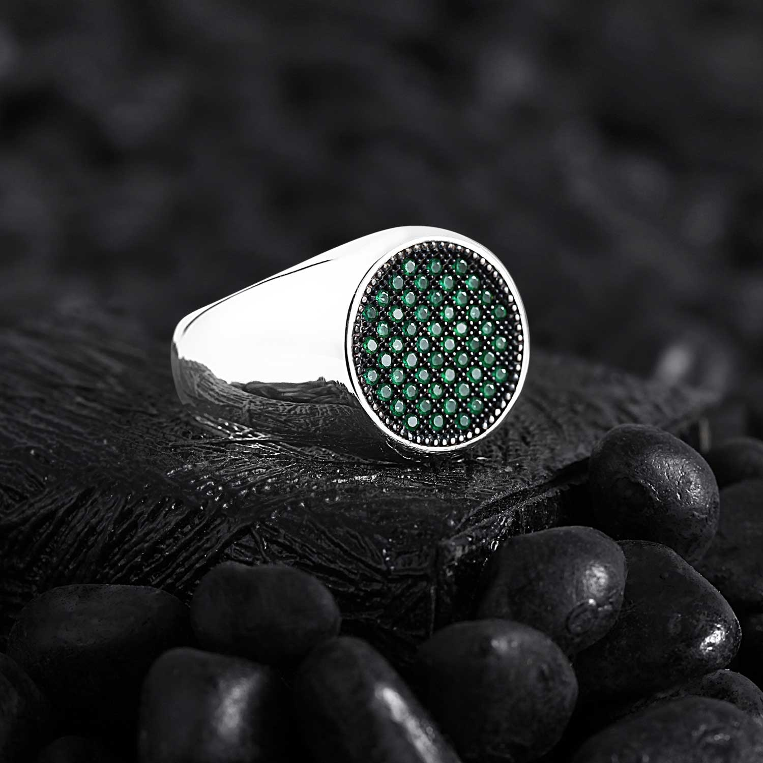 Basic Sterling Silver with Round Green CZ Diamonds-OTTASILVER