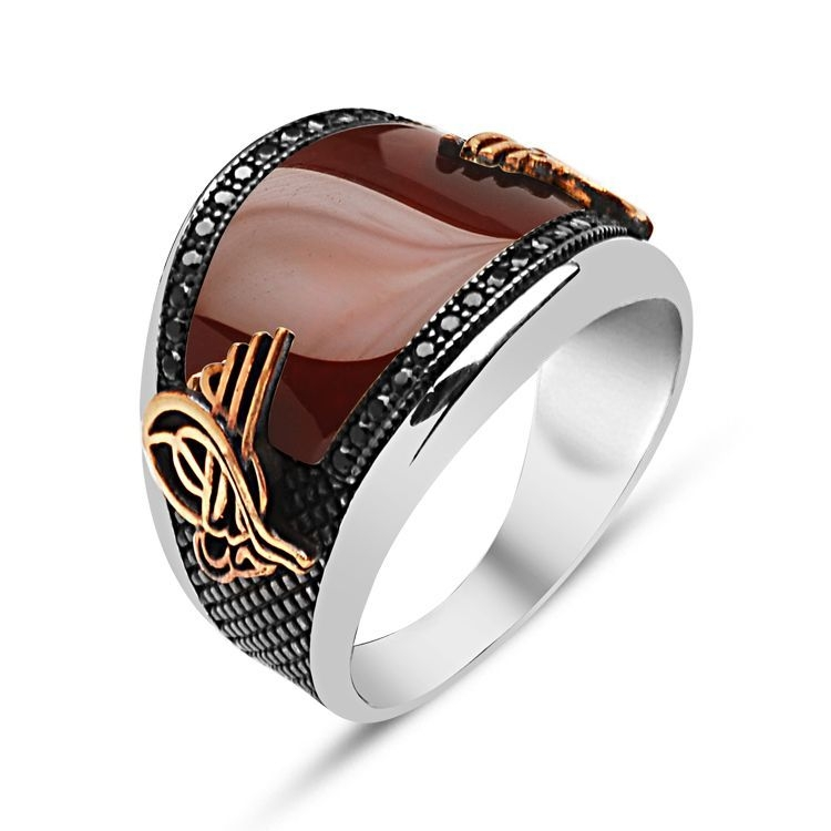 Curved Agate Stone Sterling Silver Men's Ring with Zircons-OTTASILVER